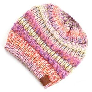 🆕 Rose Mix Multi-Color Messy Bun Beanie